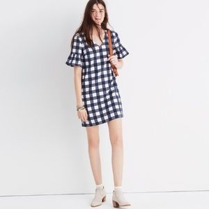 Madewell leighton plaid bell sleeve dress